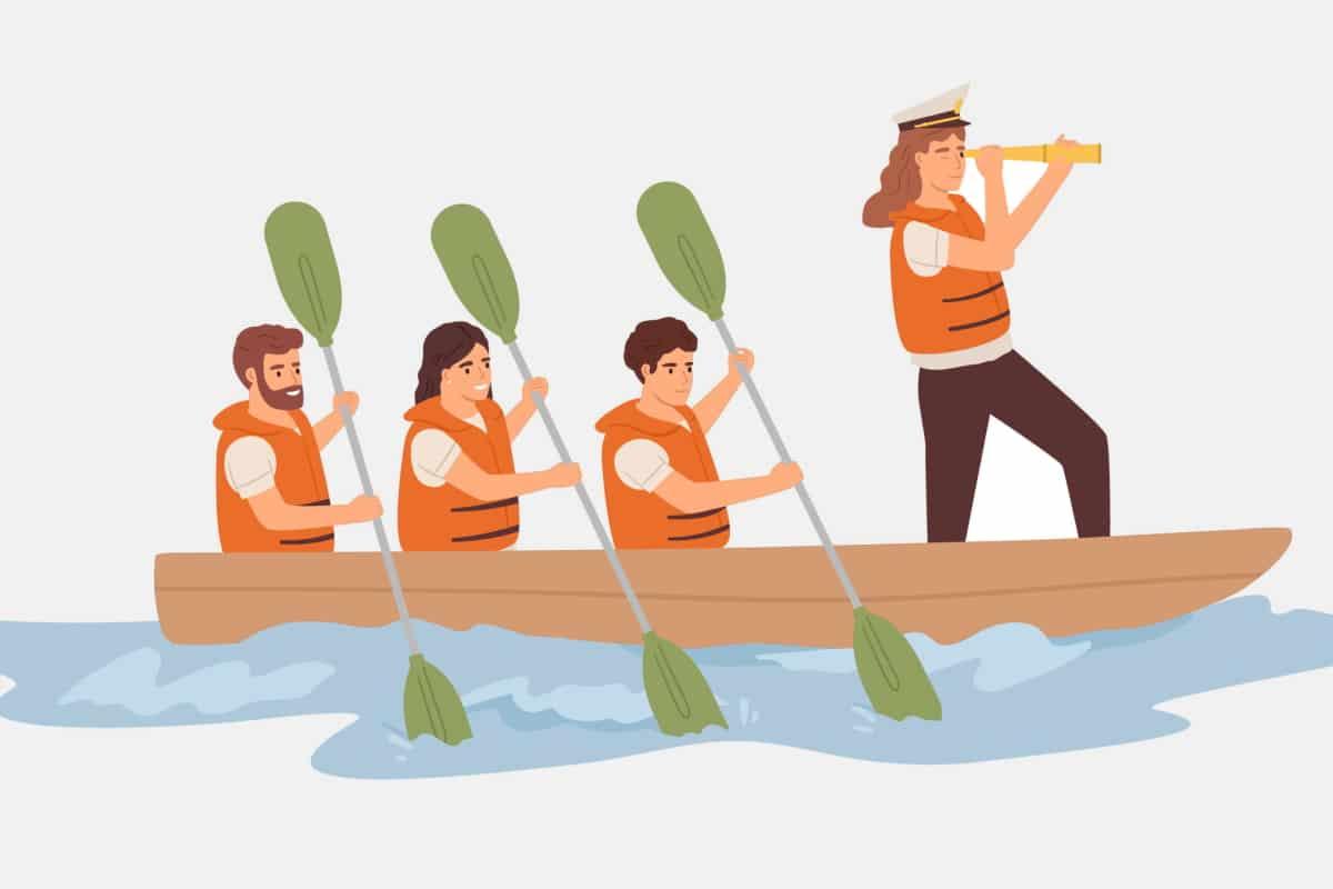 Ruderteam mit Führung